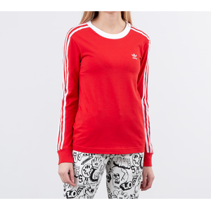 adidas 3 Stripes Longsleeve Tee Lush Red/ White