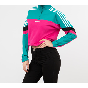 adidas Cropped Half Zip Crewneck Real Magenta/ Black Emerald