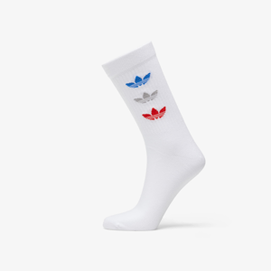 adidas Trefoil Thin Ribbed Crew Socks (2-pack) White