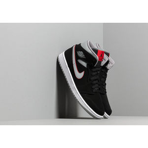 Air Jordan 1 Mid Black/ Particle Grey-White-Gym Red