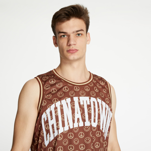 Chinatown Market Smiley Cabana Basetball Jersey Brown
