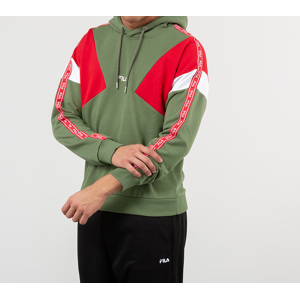 FILA Umar Hoodie Deep Lichen Green/ True Red/ Bright white