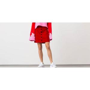 Lazy Oaf Heart Button Velvet Skirt Red