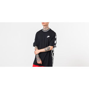 Nike Sportswear Shortsleeve Check Top Black/ Black/ White